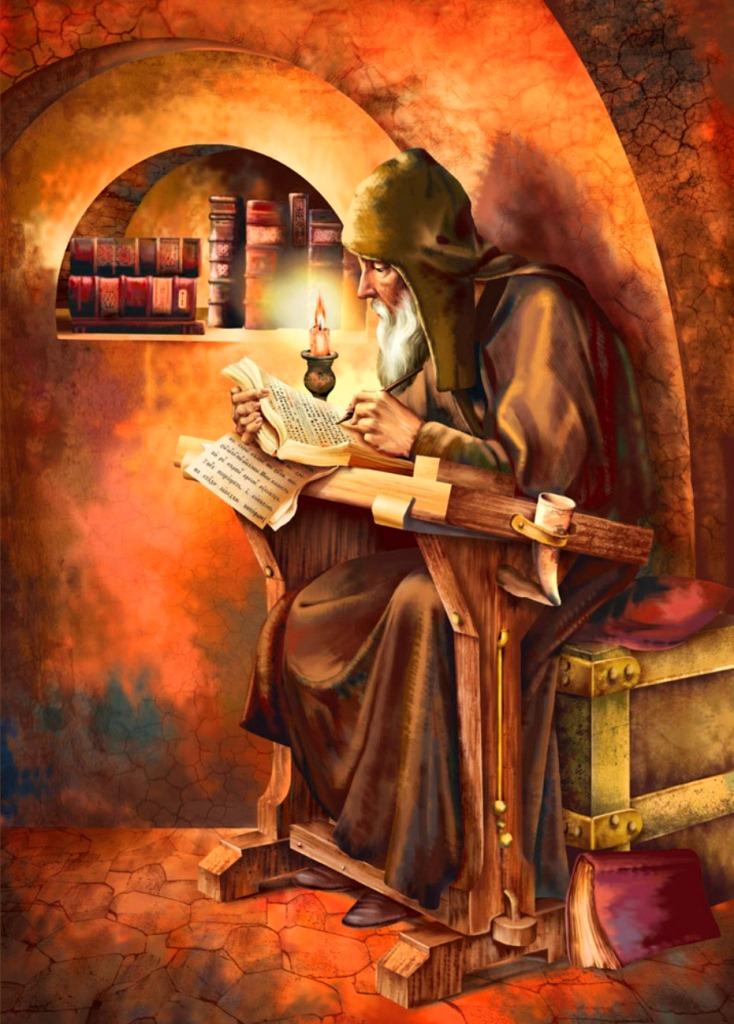 Рисунок монаха в келье